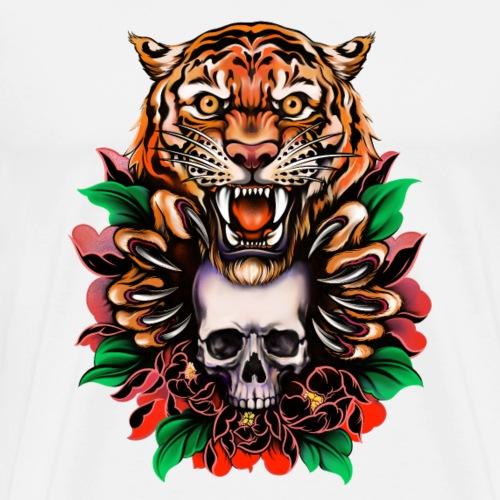 Tiger und Schädel, einzigartiges Design - Männer Premium T-Shirt
