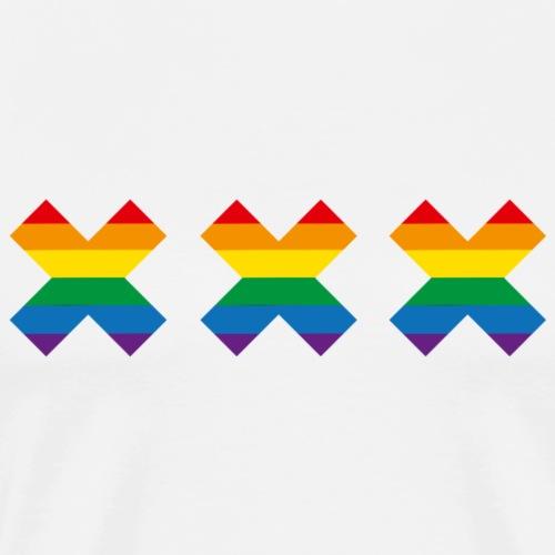 Gay Pride Amsterdam regenboogvlag Andreaskruis - Mannen Premium T-shirt