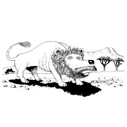 LionBlackWhite.png - T-shirt Premium Homme