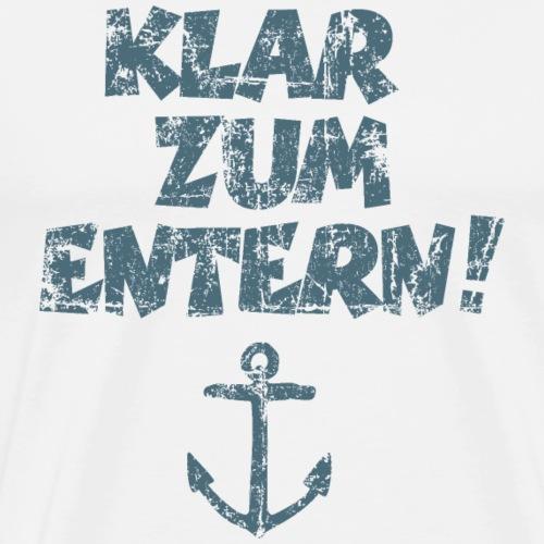 Klar zum Entern Vintage Segel Design (Dunkelblau) - Männer Premium T-Shirt