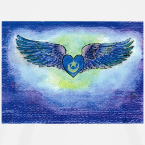Blue Heart and wings - Men's Premium T-Shirt