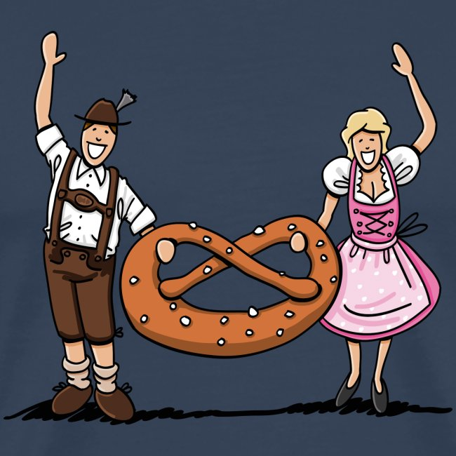 Oktoberfest Couple with large Pretzel