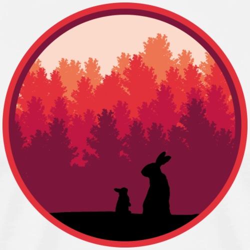 Hasen Kaninchen Wald Sonnenaufgang Bäume - Männer Premium T-Shirt