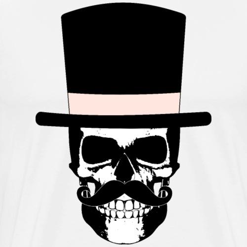 Gentleman Skull mit Zylinder und Schnauzer - Männer Premium T-Shirt