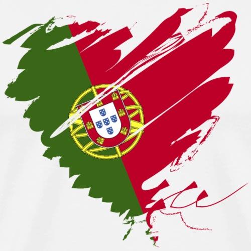 Herz Coração Portugal Portuguesa Fußball Futebol - Men's Premium T-Shirt