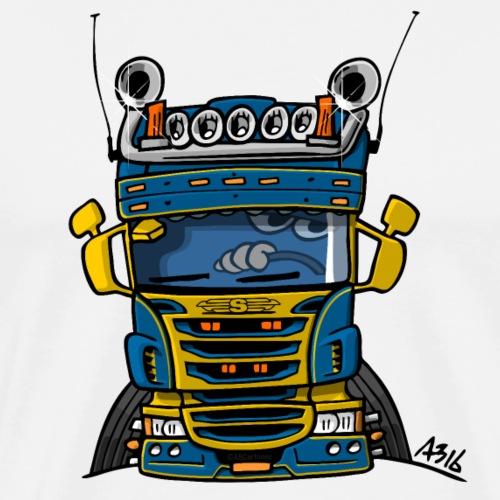 0323 S truck laag blauw geel - Mannen Premium T-shirt
