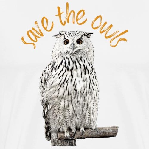 Snowy Owl Save the Owls Photo Art - Men's Premium T-Shirt