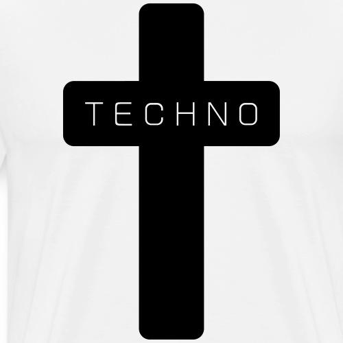 Techno Kreuz abgerundet dark minimal rave - Männer Premium T-Shirt