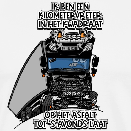 0793 D truck black trailer kilometervreter - Mannen Premium T-shirt