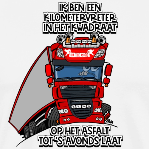 0793 D truck rood trailer kilometervreter - Mannen Premium T-shirt