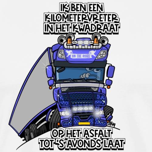 0793 D truck blauw trailer kilometervreter - Mannen Premium T-shirt