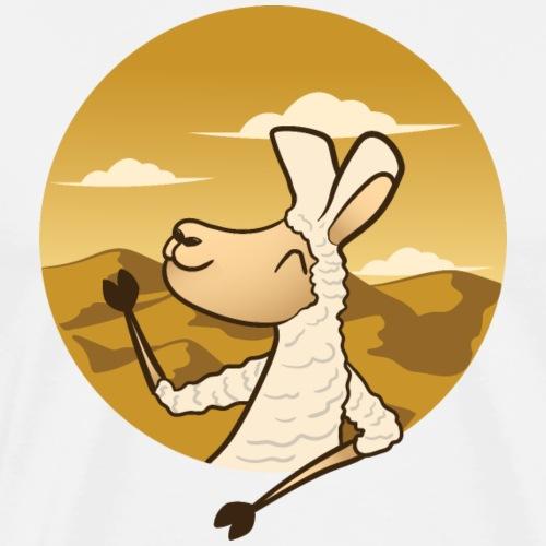 Waving Llama - Herre premium T-shirt