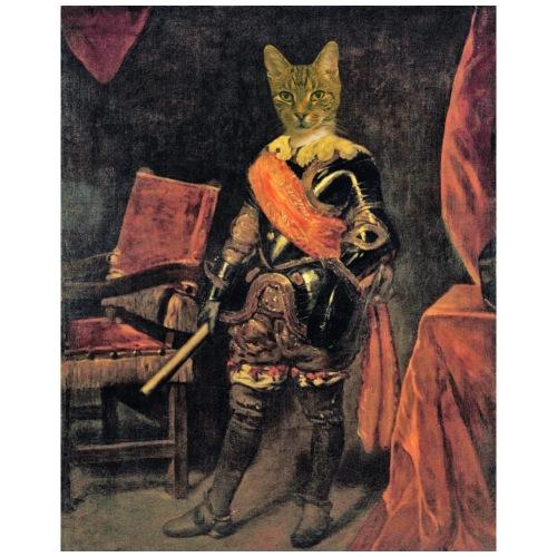 Chat en costume d'époque, armure du 17eme siècle. - T-shirt Premium Homme