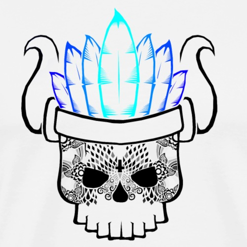 Calavera Negro-Azul - Camiseta premium hombre