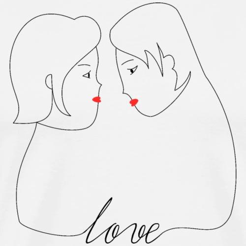 Pareja Amor - Camiseta premium hombre