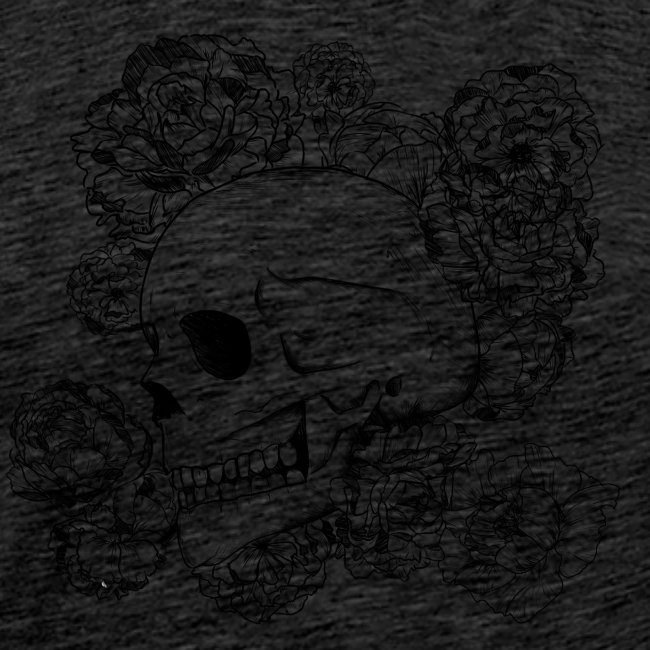 Teschio con fiori, disegno in inchiostro nero