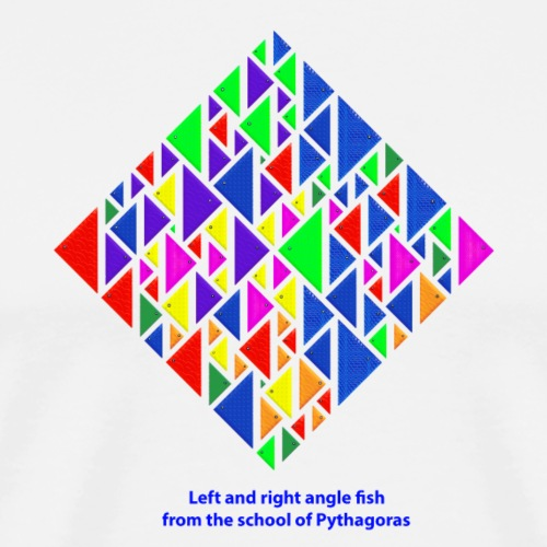 Left and right angle fish, school of Pythagoras - Men's Premium T-Shirt