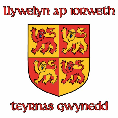 CY | Arms of Llywelyn the Great [Name+Escutch.] - Men's Premium T-Shirt