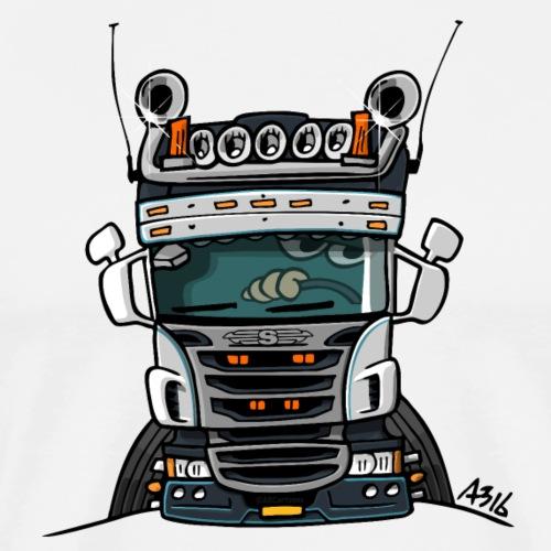 0323 S truck laag grijs wit blauw - Mannen Premium T-shirt