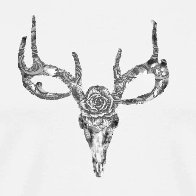 Deer skull with rose