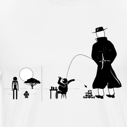 Pissing Man against a wasteful consumer society - Männer Premium T-Shirt