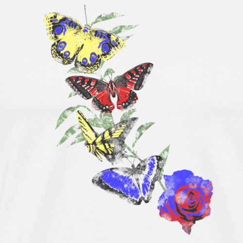 Flying Butterflies on Blue Red Rose - Maglietta Premium da uomo