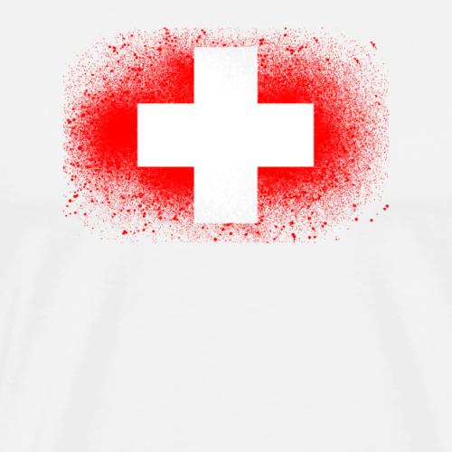 Schweiz Grunge Flagge Bern Genf lustig Geschenk - Männer Premium T-Shirt