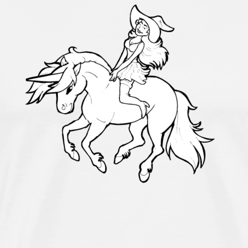 Reitende sexy Hexe auf Einhorn Lustiges Geschenk - Männer Premium T-Shirt