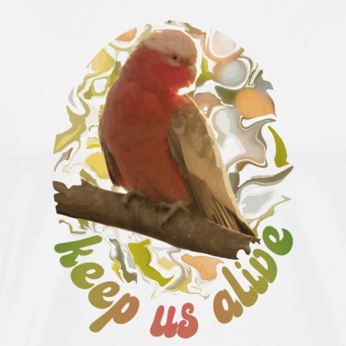 Galah Parrot Keep Us Alive 70s background - Men's Premium T-Shirt
