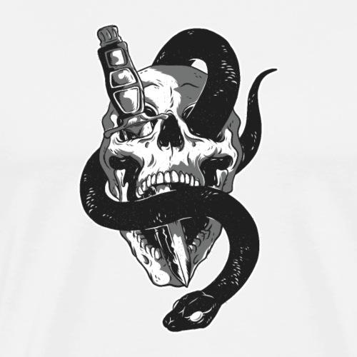 Totenkopf mit Messer und Schlange - Männer Premium T-Shirt