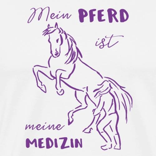 Mein Pferd ist meine Medizin lila Geschenk Spruch - Männer Premium T-Shirt