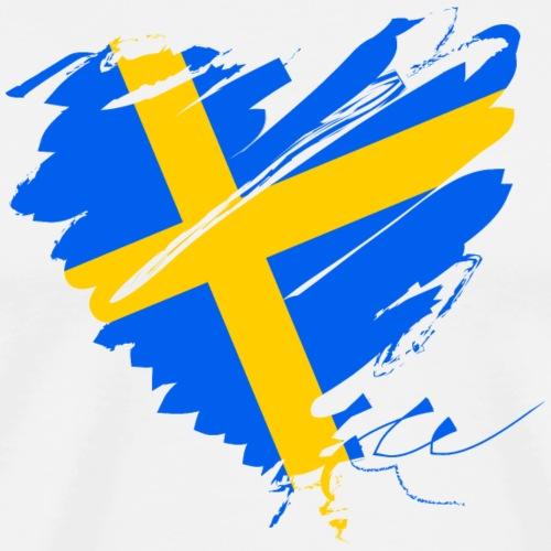 Schweden Skandinavien Europa Fahne Grunge Herz - Men's Premium T-Shirt