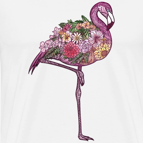 Flamingo Flowers Zentangle - Men's Premium T-Shirt