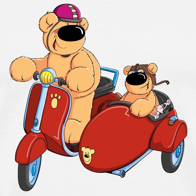 Zwei Bären fahren Roller