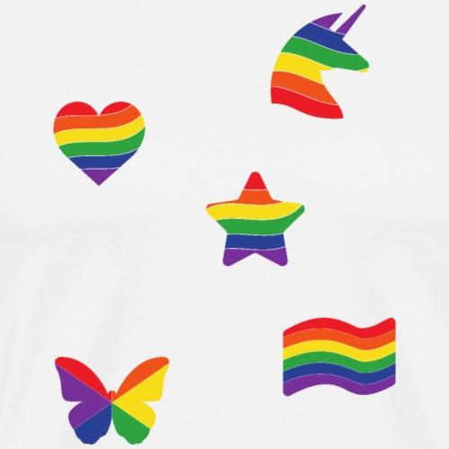 Regenbogen Sticker | LGBT | Pride - Männer Premium T-Shirt