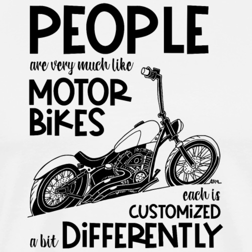 0798 people are very much like motorbikes black - Mannen Premium T-shirt
