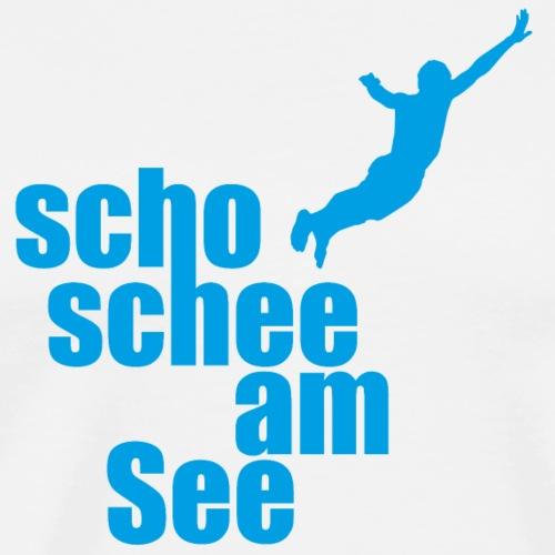 scho schee am see mann springt - Männer Premium T-Shirt