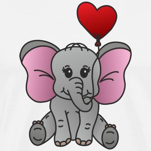 Elefant mit Herzluftballon - Männer Premium T-Shirt