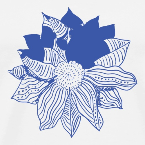flor-azul - Camiseta premium hombre
