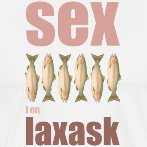 Sex laxar i en laxask - Premium-T-shirt herr