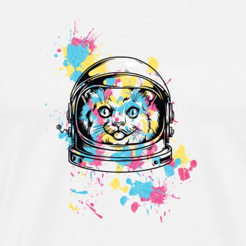 colorful Space Cat as an astronaut in the Galaxy