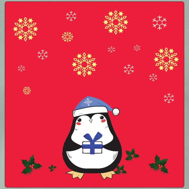 penguin red background