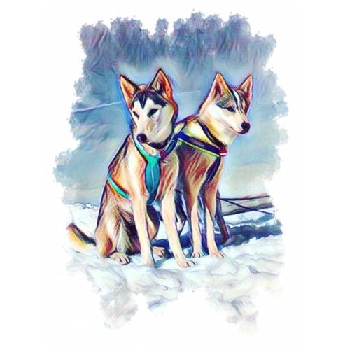Huskies im Schnee - Männer Premium T-Shirt