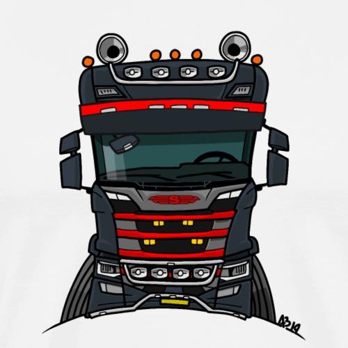 0814 S truck zwart rood - Mannen Premium T-shirt