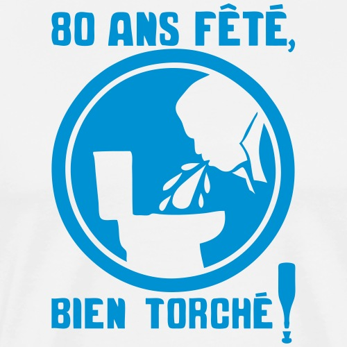 80 ans fete torche obligatoire panneau v - T-shirt Premium Homme