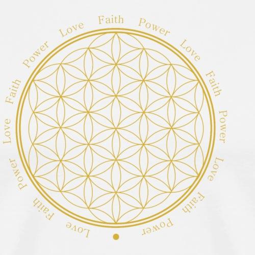 Blume des Lebens - Faith-Love-Power - Gold - Männer Premium T-Shirt
