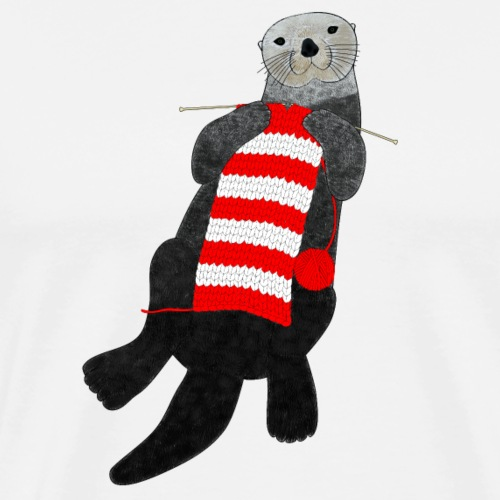 Knitting sea otter - Men's Premium T-Shirt