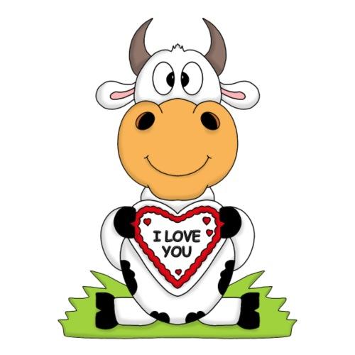 Niedliche Kuh mit Herz - I love you - Männer Premium T-Shirt