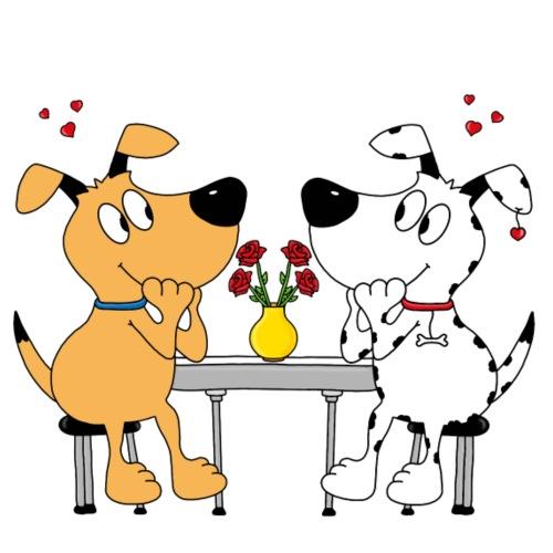 Hunde - Liebe - Rosen - Männer Premium T-Shirt