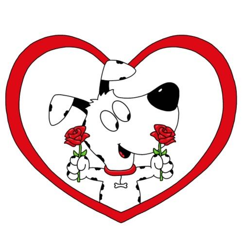 Hund - Herz - Liebe - Blumen - Rosen - Männer Premium T-Shirt